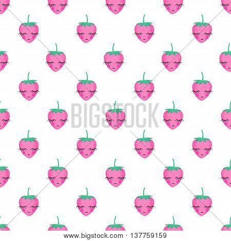 Seamless background with tiny strawberries. Cute vector strawberry pattern. Summer fruit illustration on white background. Sweet baby shower vector background. Cute design for print on baby's clothes.