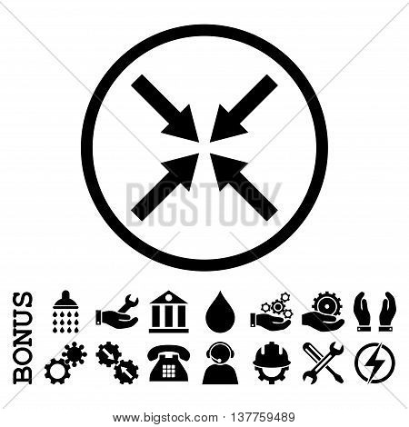 Center Arrows vector icon. Image style is a flat pictogram symbol inside a circle, black color, white background. Bonus images are included.