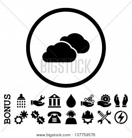 Clouds vector icon. Image style is a flat pictogram symbol inside a circle, black color, white background. Bonus images are included.