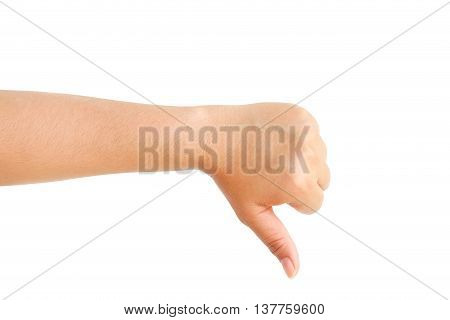 Closeup of female hand bad, no agree. Isolated on white background.
