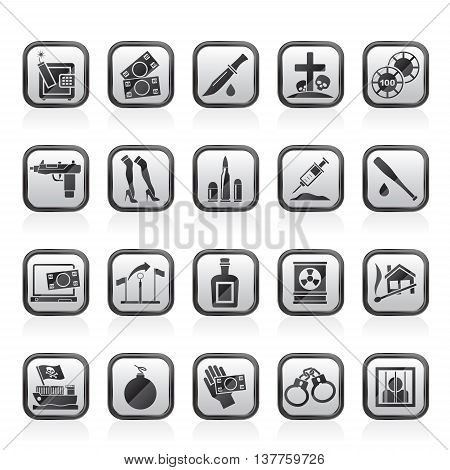 Mafia, Gangster and organized criminality activity icons - vector icon set