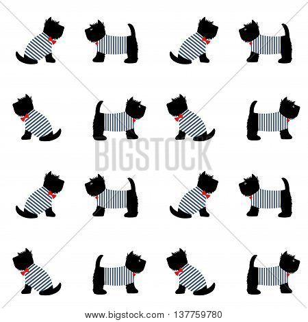 Scottish terrier in a sailor t-shirt seamless pattern. Cute cartoon dogs on white background illustration. Child drawing style puppy background. French style dressed dogs in striped frocks.