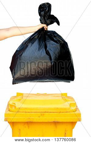 woman hands holding garbage bag isolated on white background