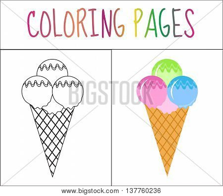 Coloring book page. Ice cream. Sketch and color version. Coloring for kids. Vector illustration