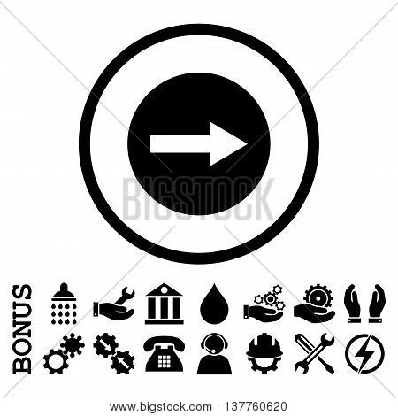 Right Rounded Arrow vector icon. Image style is a flat pictogram symbol inside a circle, black color, white background. Bonus images are included.