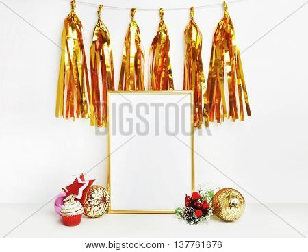 gold picture frame with decorations. Mock up for your photo or text Place your work. Gold tassel