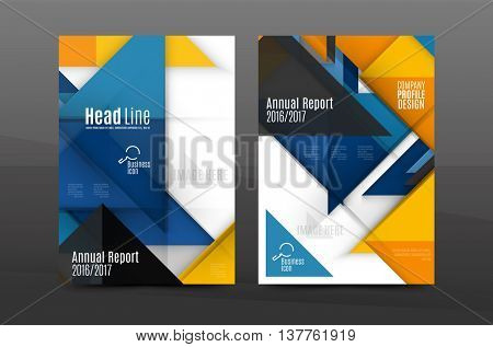 Squares and triangles annual report cover template. Color business brochure vector template, front page, A4 size, leaflet abstract background, magazine design, flyer layout