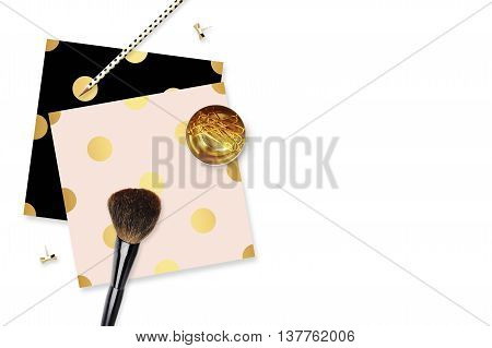 Gold and Blush. Flat lay. Glamour style. Polka dots patterns. Table view. Mock-up background.Table view office items