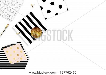 Table view office items, white background mock up, woman desk. Flat lay. Envelope