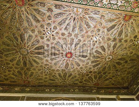 SEVILLE, SPAIN - September 12, 2015: Detail of the ceiling in the Sala de los Infantes Alcazar of Seville on September 12, 2015 in Seville, Spain