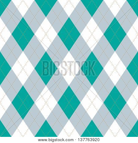 Seamless argyle pattern in persian green, light grayish blue & white with fallow stitch.