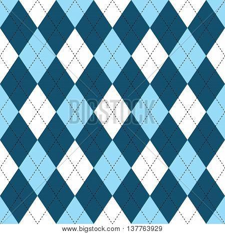 Seamless argyle pattern in dark blue, soft blue & white with black stitch.