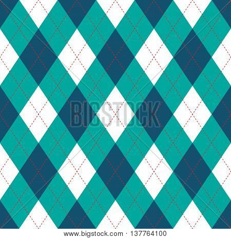 Seamless argyle pattern in dark blue, persian green & white with red stitch.