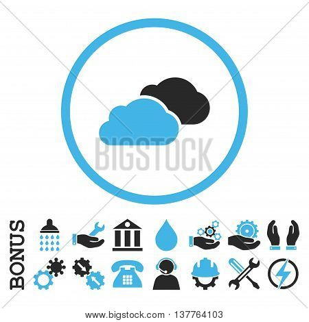 Clouds glyph bicolor icon. Image style is a flat pictogram symbol inside a circle, blue and gray colors, white background. Bonus images are included.