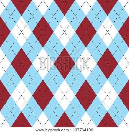 Seamless argyle pattern in dark red, soft blue & white with black stitch.