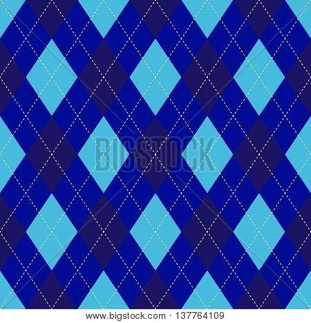 Seamless argyle pattern in navy blue, dark midnight blue & soft cyan with white stitch.