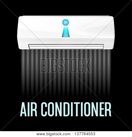 White color air conditioner machine black background. Vector illustration.