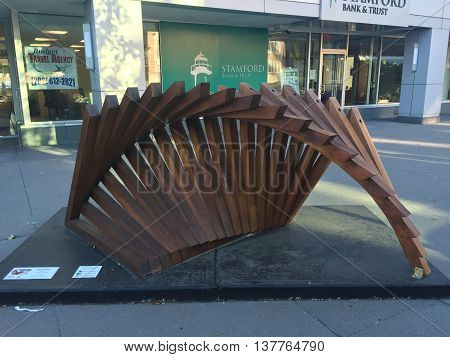 STAMFORD, CT - JUN 22: Downtown Expressions in Stamford Downtown in Connecticut, as seen on Jun 22, 2016. This exhibition was part of the annual Art in Public Places sculptures lining the sidewalks and parks in Stamford in 2016.