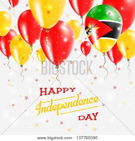 Mozambique Vector Patriotic Poster. Independence Day Placard With Bright Colorful Balloons Of Countr