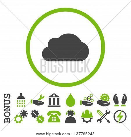 Cloud glyph bicolor icon. Image style is a flat pictogram symbol inside a circle, eco green and gray colors, white background. Bonus images are included.
