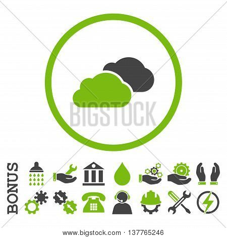 Clouds glyph bicolor icon. Image style is a flat pictogram symbol inside a circle, eco green and gray colors, white background. Bonus images are included.