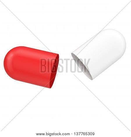 Opened pill isolated on white backgorund, medicine concept, 3d illustration