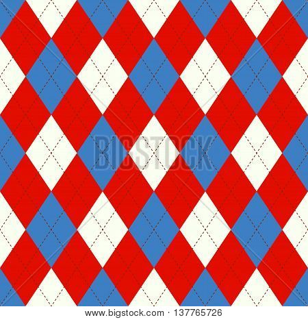 Seamless argyle pattern in red, blue & white with dark red stitch. Traditional checkered textile print for jerseys, jumpers, sweaters, polo shirts, socks & golf sports uniforms.