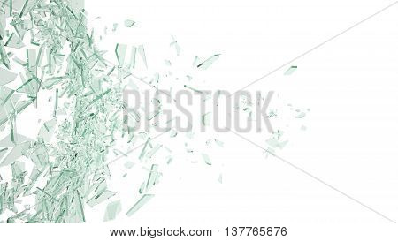 Broken glass background isolated on white. 3d illustration