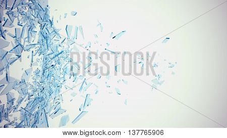 Abstract broken blue glass into pieces isolated on white background, 3d illustration