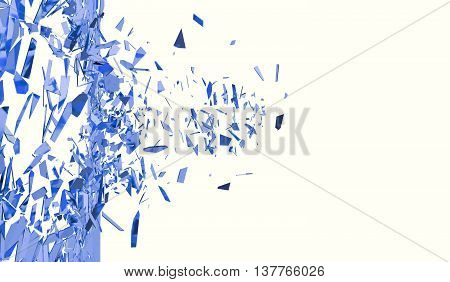 Broken blue wall isolated on white background, 3d illustration