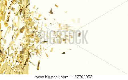 Broken gold wall isolated on white background, 3d illustration