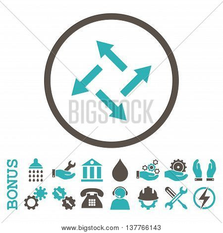 Centrifugal Arrows glyph bicolor icon. Image style is a flat pictogram symbol inside a circle, grey and cyan colors, white background. Bonus images are included.