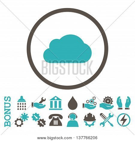 Cloud glyph bicolor icon. Image style is a flat pictogram symbol inside a circle, grey and cyan colors, white background. Bonus images are included.