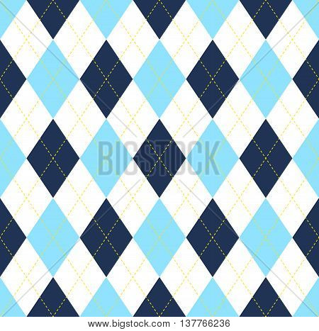 Seamless argyle pattern in dark blue, light blue & white with yellow stitch. Classic diamond check print for jerseys, jumpers, sweaters, socks, golf wear & sports uniforms.