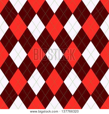 Seamless argyle pattern in red, dark red / chocolate brown & white with green stitch. Diagonal diamond check textile: jerseys/sweaters/socks. Team sports uniform: golf/basketball/cycling/soccer.