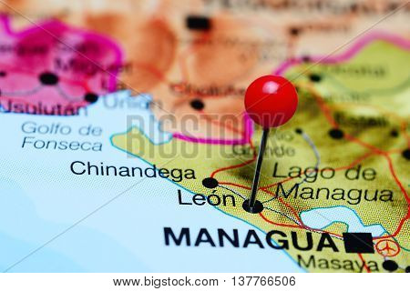 Leon pinned on a map of Nicaragua