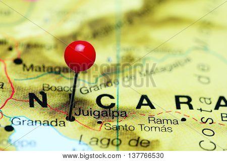Juigalpa pinned on a map of Nicaragua