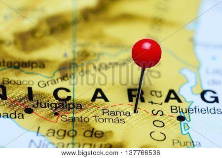 Rama pinned on a map of Nicaragua