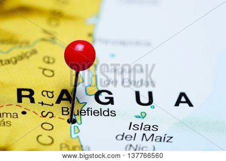 Bluefields pinned on a map of Nicaragua