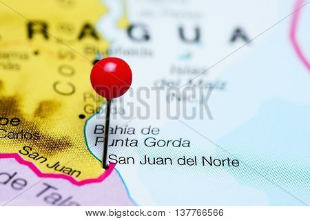 San Juan del Norte pinned on a map of Nicaragua