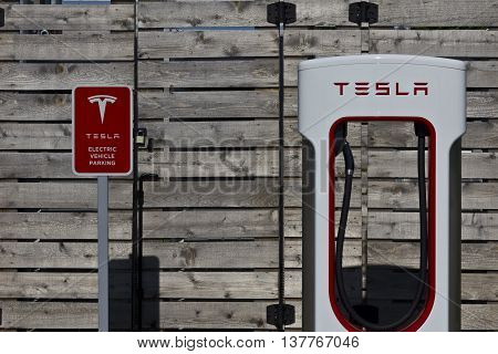 Lafayette IN - Circa July 2016: Tesla Supercharger Station. The Supercharger offers fast recharging of the Model S and Model X electric vehicles VII