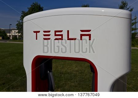 Lafayette IN - Circa July 2016: Tesla Supercharger Station. The Supercharger offers fast recharging of the Model S and Model X electric vehicles V