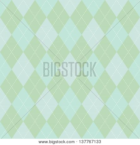 Pastel palette seamless argyle pattern in faded tones of green with white stitch.