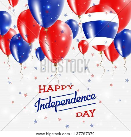 Thailand Vector Patriotic Poster. Independence Day Placard With Bright Colorful Balloons Of Country