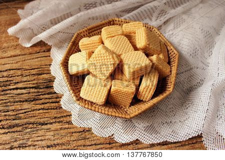 wafers on wooden  for breakfast and relax time