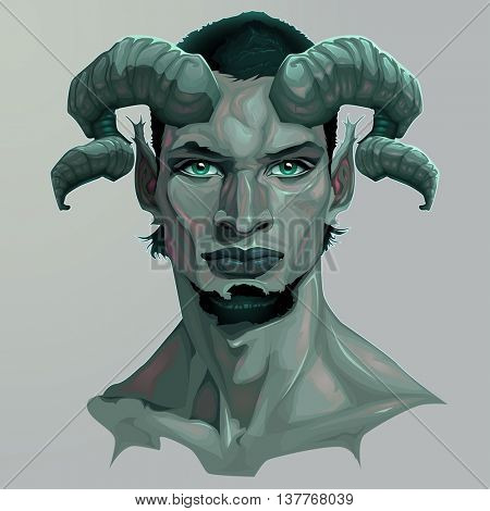 Portrait of a faun. Vector illustration