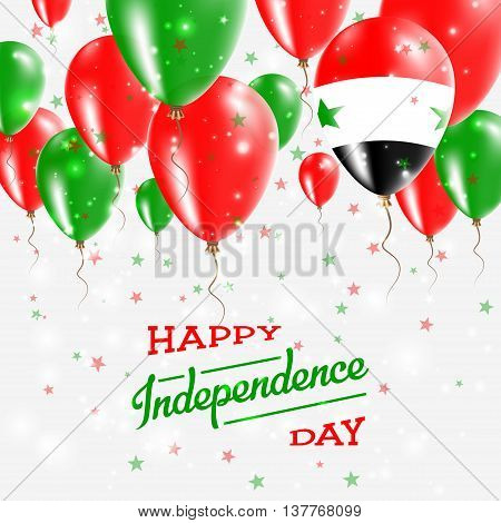 Syrian Arab Republic Vector Patriotic Poster. Independence Day Placard With Bright Colorful Balloons