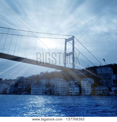 Bosphorus bridge over sunlight in istanbul