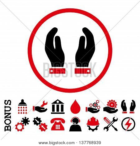 Care Hands glyph bicolor icon. Image style is a flat pictogram symbol inside a circle, intensive red and black colors, white background. Bonus images are included.