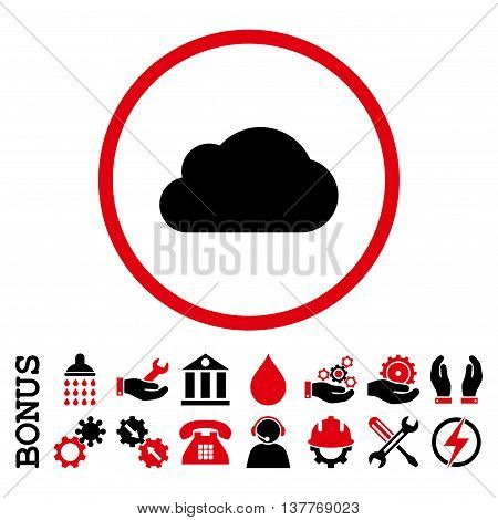 Cloud glyph bicolor icon. Image style is a flat pictogram symbol inside a circle, intensive red and black colors, white background. Bonus images are included.
